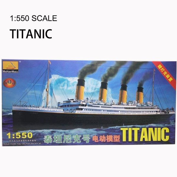 top popular 1:550 RMS Titanic Model Building Kits Assembly Plastic Ship Model With Electric Motor Lighting Device Electric Titanic Toy Y200428 2021