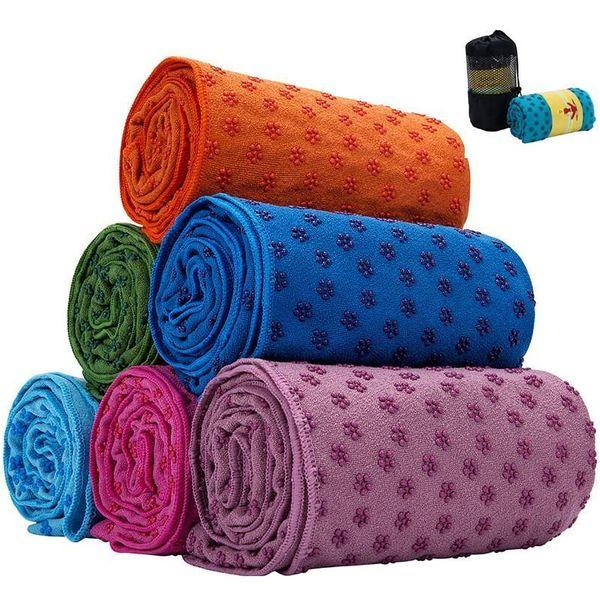 top popular 7 Colors Yoga Mat Towel Blanket Non-slip Microfiber Surface With Sile Dots High Moisture Quick Drying Carpets Yog jllbRU bdebag 2021