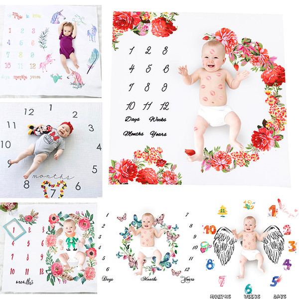 top popular Super Cute Nordic Style Baby Photo Sheet White Ground Letter Flower Printed Sheet Photo Backdrop Photography Prop Shoots Sheets 2021