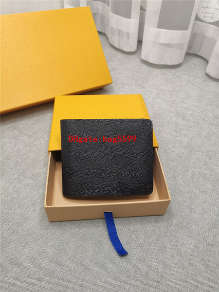 top popular 2020 hot sale men designer Embossed letters wallet luxury fold wallet good quality leather purses sir Card package With box card 2020