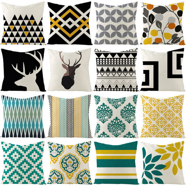 best selling Cover Geometric Abstract Series Linen Pillow Sofa Pillow Case Home