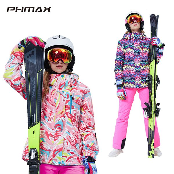 best selling PHMAX Ski Suit Women Windproof Thick Warm Ski Jacket Pants Set Female Snow Snowboarding Costumes Outdoor Wear Skiing Jacket 201203