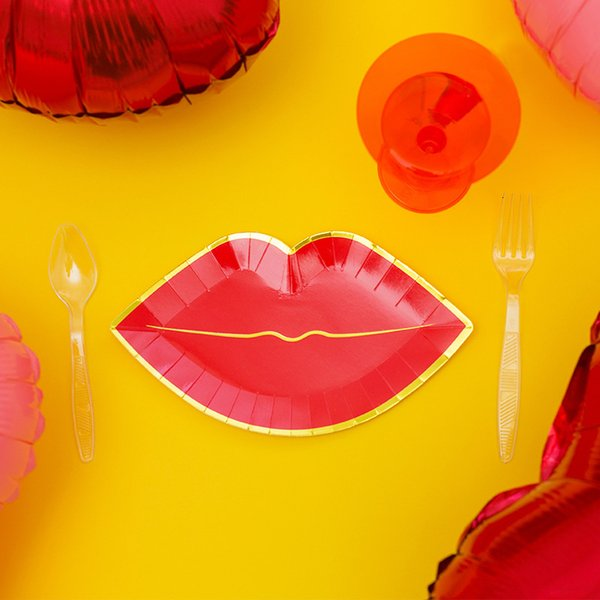best selling Birthday 8PC styling   Bag wedding Red Lips Party Disposable Cup Set Baby Shower Cake Shop Dessert Table Decor