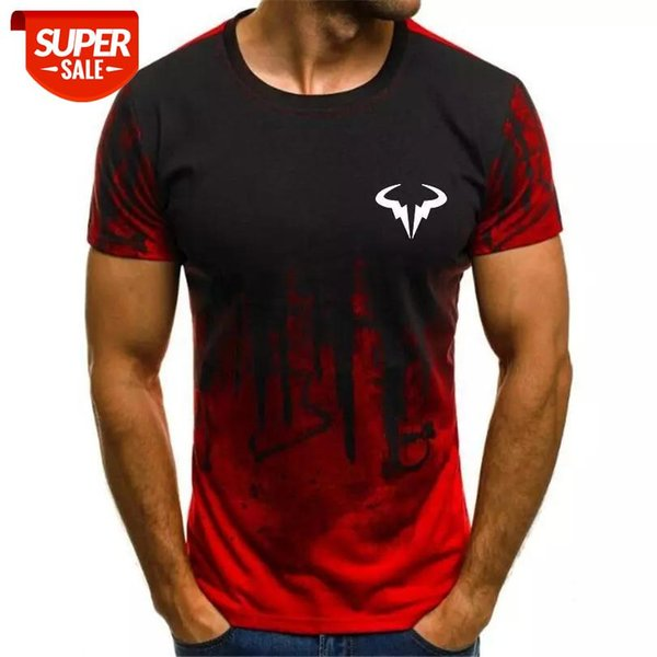 best selling Men's 2020 Fashion New 3D Milk Silk Gradient Print Men's T-Shirt Top #1e6q