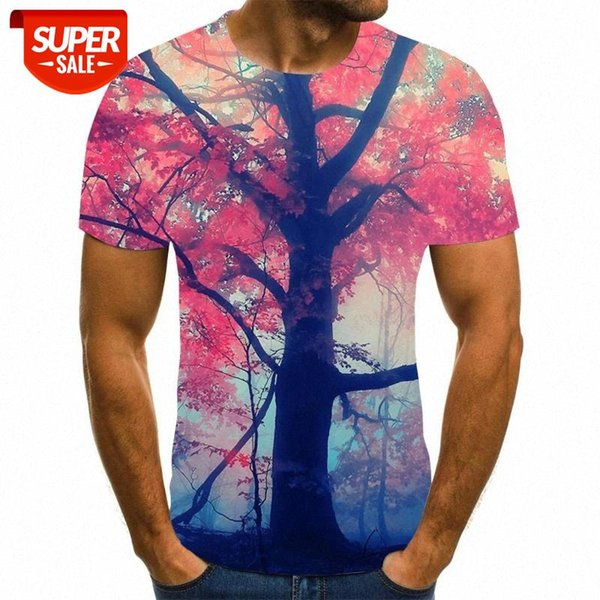 top popular 3D new popular animation landscape creative art design colorful funny T-shirt for men's short sleeve s-6xl street style #DX35 2021