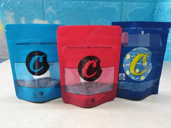 top popular mylar bag 3.5 grams red blue color childproof zipper resealable dry herb packaging smell proof 2020 hot 2021
