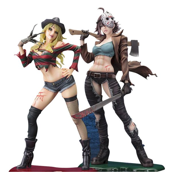 top popular Freddy vs.Jason Horror Bishoujo Jason Voorhees Freddy Krueger 2nd Edition PVC Action Figure Anime Figure Collectible Doll Gift X0121 2021