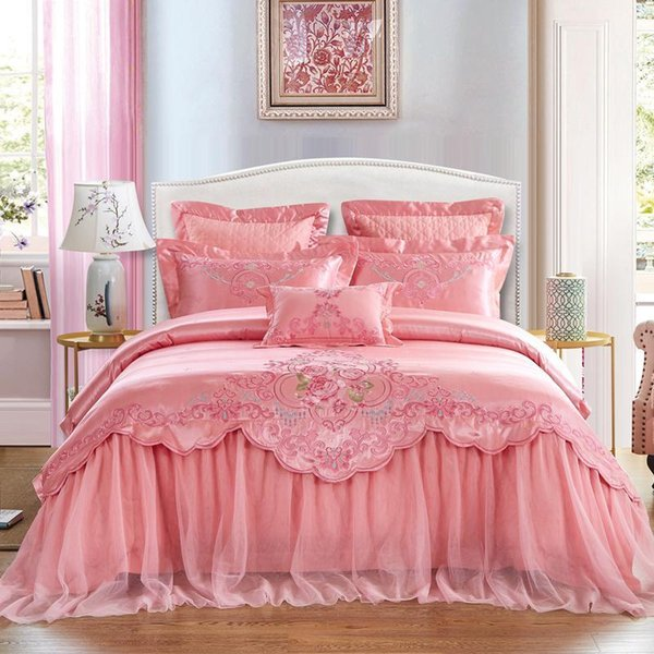 Pink Wedding Style Lace Embroidery 100% Jacquard Cotton Princess Bedding Set Duvet Cover Bed Sheet Bedspread Pillowcases1 Bedding Sets Cheap Bedding Sets Pink Wedding Style Lace.We offer the best wholesale price, quality guarantee, professional e-business service and fast shipping . You will be satisfied with the shopping experience in our store. Look for long term businss with you.