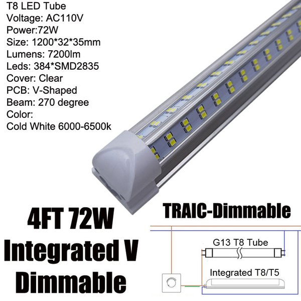 Dimmable 72W Integrated 4Ft LED Tube
