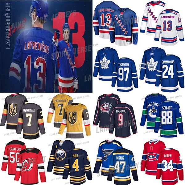 best selling New York Rangers 13 Alexis Lafreniere Toronto Maple Leafs 97 Joe Thornton Vancouver Canucks 88 NATE SCHMIDT 70 BRADEN HOLTBY Hockey Jersey