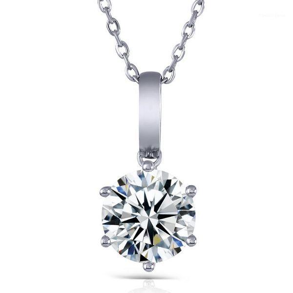 top popular Transgems 18K White Gold 3.0 Lab Grown moissanite Diamond Solitaire Slide Pendant Solid 18K White Gold for Women1 2021