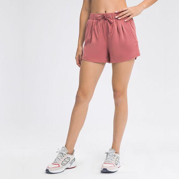 best selling Yoga Shorts Drawstring Waist High Elastic Lace Up Loose Breathable Running Fitness Leisure Sports Shorts Pockets Beach Tennis Biker Shorts