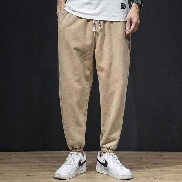 Harem pantalones de color caqui 864