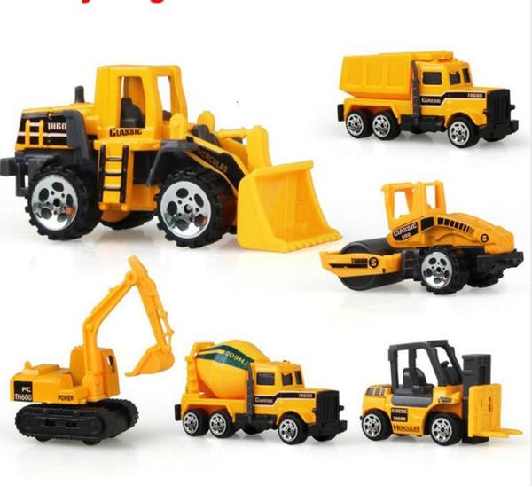 top popular 6 types Diecast mini alloy construction vehicle Engineering Car Dump-car Dump Truck Model Classic Toy Mini gift for boy 2020