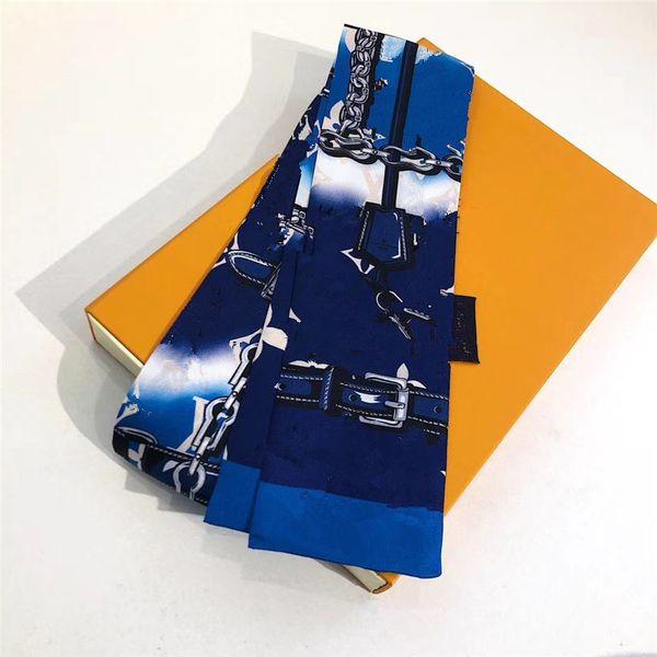 top popular Ho classic Silk HANDBAG Bag scarf Headbands New women letter flower silk scraves Top grade silk bag scarf hair Bands 8x120cm 2021