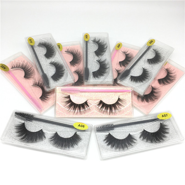top popular New Mink Eyelashes with Eye Brush Handmade Lashes Soft Thick Faux Mink Lash Natural Long Mink Eyelash Extension Resuable 3D False Eyelashes 2021
