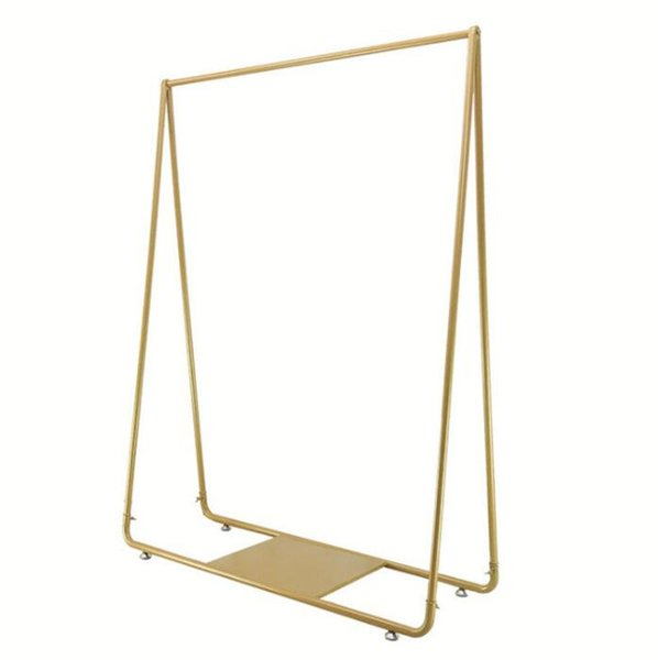 top popular Clothes rack clothing store display rack floor combination gold women's clothing store shelf iron hanging clothes rack 2021