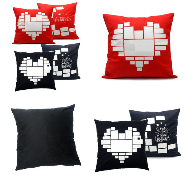 top popular 40*40cm Sublimation Blank Cushion Cover Pillow Cases Black Red Heart Moon DIY Photo Thermal Heat Print Party Easter Pillow Covers H11901 2021