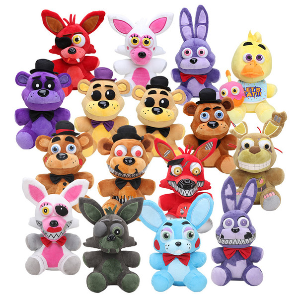 top popular 25cm Five Nights At Freddy's FNAF Golden Freddy foxy Bonnie Chica Sister Location stuffed doll cupcake Freddy Fazbear plush toys 1011 2021