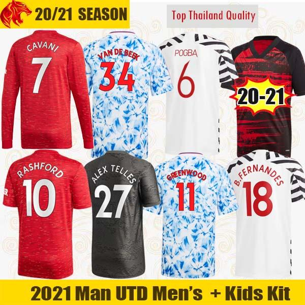 top popular 20 21 Manchester Soccer Jerseys United VAN DE BEEK Fans Player Version CAVANI FERNANDES Football Shirt Man Utd 4th Long Jersey Kids Kit 2020