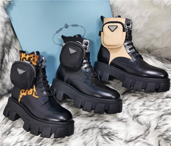 top popular top Quality Rois Martin Boots Women Ankle Genuine Leather Military Combat Models Platform Bag Boots Triple Cowhide Motorcycle Shoes 2021