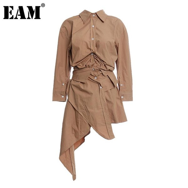 eam] women pleated mesh irregular stitch shirt dress new lapel long sleeve loose fit fashion tide spring autumn 2020 1z823, Black;gray