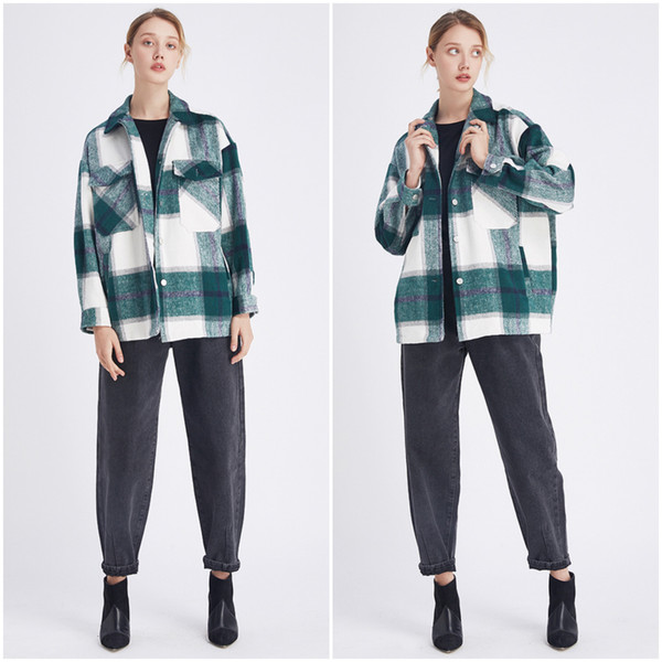 top popular Dropship Plaid Jacket Vintage Stylish Pockets Oversized Jacket Shirts Coat Women Fashion Lapel Collar Long Sleeve Loose Outerwear Chic Tops 2021