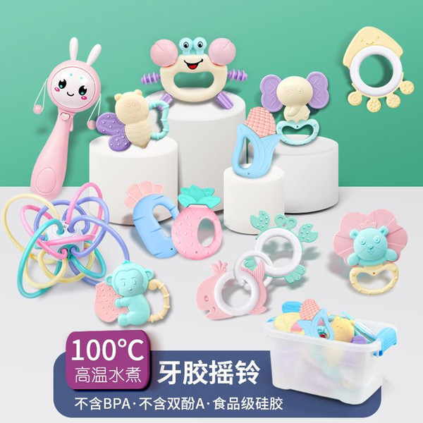 top popular Baby toys 0-1 year old Baby Hand Rattle Gum Newborn Baby Early Education Molars Boiled Bed Bell Set Gifts 2020