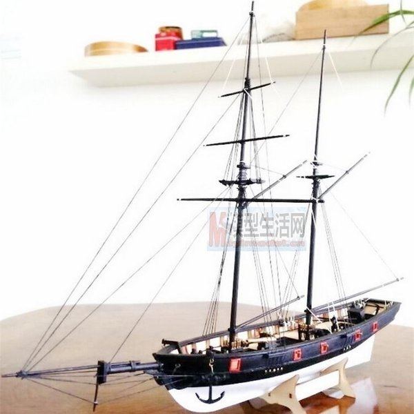 top popular Free shipping 1:100 Scale Wooden Sailboat Halcon1840 Model Ship + life boat + Brass updates kits Y200428 2021