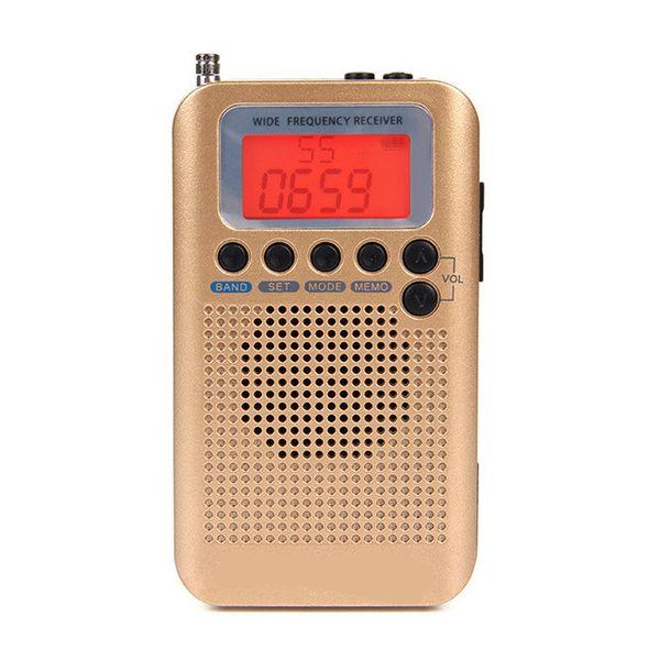 top popular FreeShipping Portable Radio Aircraft Full Band Radio FM AM SW CB Air VHF Receiver World Band with LCD Display Alarm Clock 2021