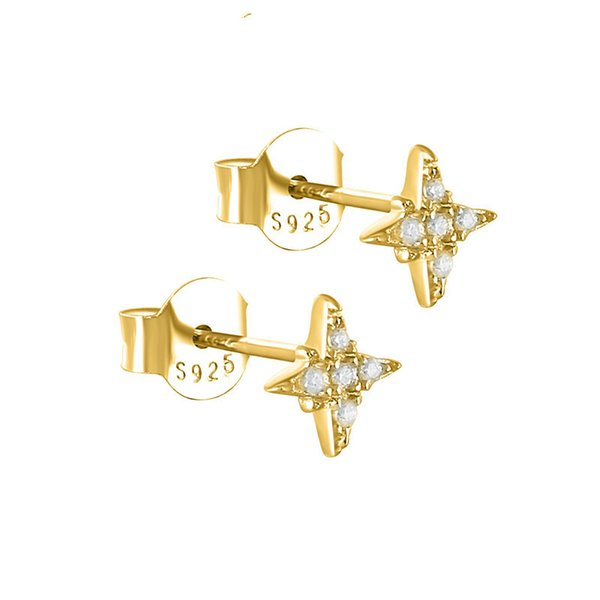 Februaryfrost Brand Designer 100% 925 Sterling Silver Small Star Stud Earrings for Women Fashion Designer Women Simple Earrings