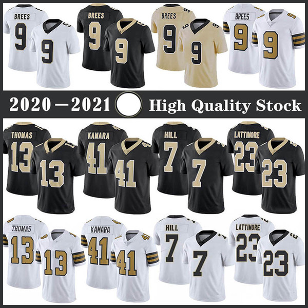 top popular 9 Drew Brees Football Jersey 41 Alvin Kamara 13 Michael Thomas 7 Taysom Hill 23 Marshon Lattimore 94 Cameron JD Stitched jerseys TB Patch 2021