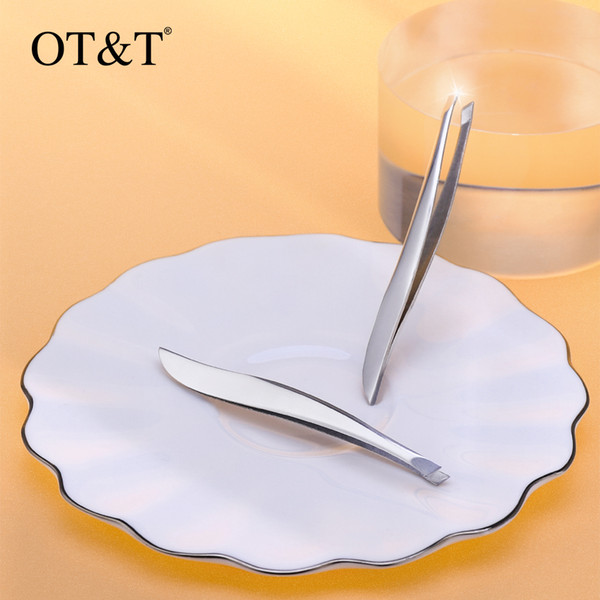 top popular OT&T Exquisite Slant Eyebrow Tweezers Makeup Remover Precision Stainless Steel Curved Eyebrows Styles Face Hair Tweezers Tool 0291 2021