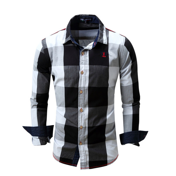 top popular New European and American Mens Casual Long Sleeve Shirt Mens Cotton Plaid Color Matching Shirt 4 Colors Size M-3XL 2021