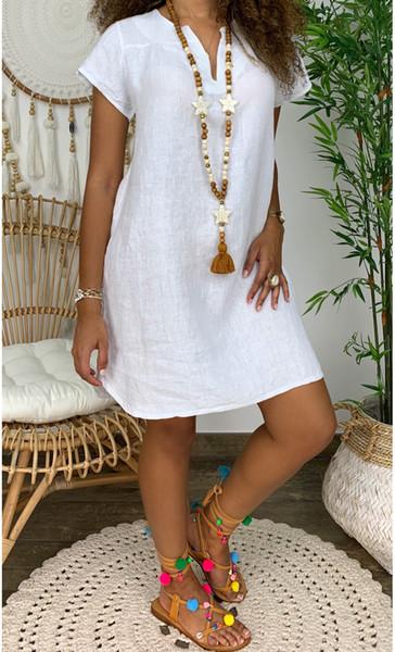 best selling Sexy New Beach Flax Waist Womens Short Sleeve V-neck Long Skirt Party Casual Dresses Size S-XXXL