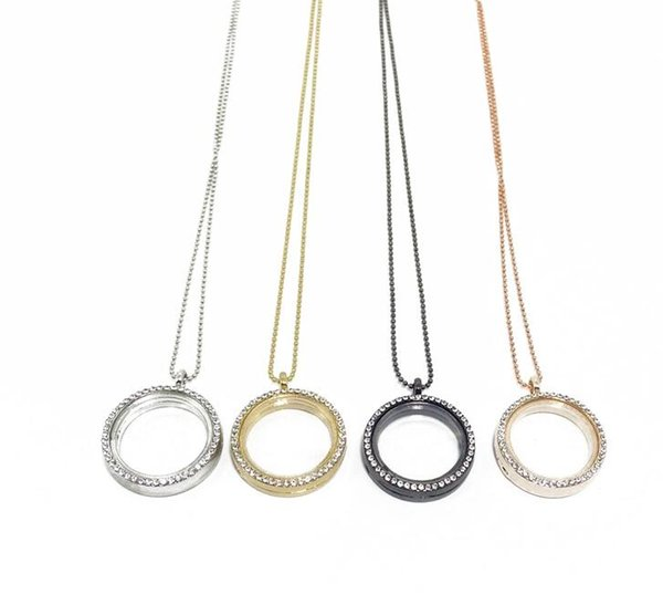 top popular Floating Memory Locket Necklace Round Living Magnetic Glass Lockets Necklaces ps1319 2021