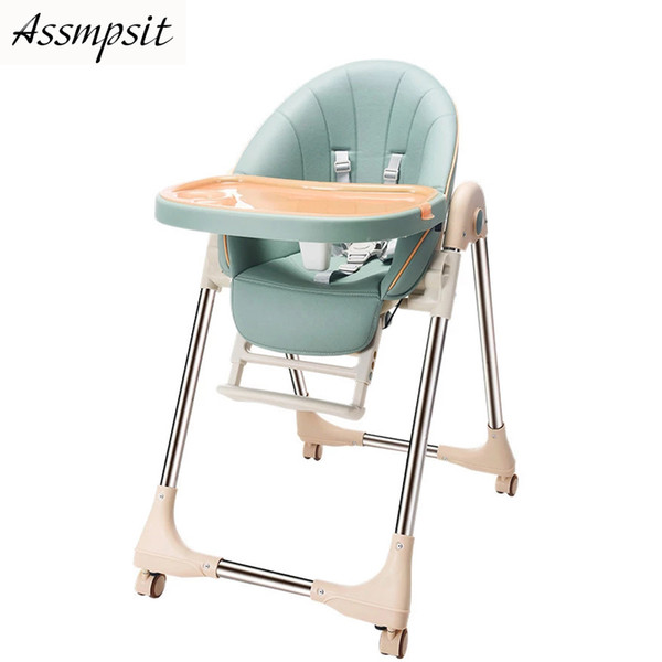top popular foldable eating table and portable European-style Baby dining chair universal four whe LJ201110 2021