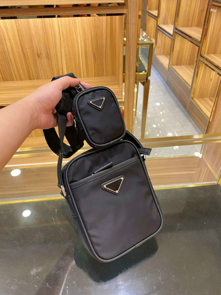 top popular Mens and Women's Crossbody Bag Shoulder Bags Mini Size High Quality Solid Color Black Unisex with Pockets with Gift Box #Shelala 2021