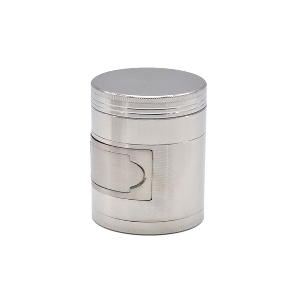 best selling Customized logo Silver Herb Grinder- 4 Layers 50mm with Side Windows Metal Zinc Alloy Tobacco Grinder
