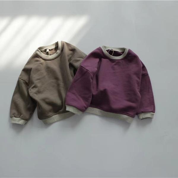 best selling FM INS Korean Style New Kids Little Boys Girls Patchwork Sweatshirts Long Sleeve Winter Cotton Unisex Child Bountique Clothes Tops