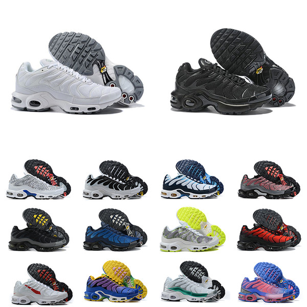 top popular Mens Tn Plus Running Shoes Worldwide Triple Black White Rainbow Blue Sneakers Male Outdoor Trainers Size 40-46 2021