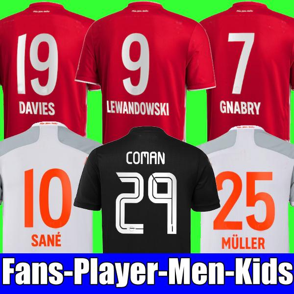 best selling 20 21 fans player version SANE LEWANDOWSKI COMAN GNABRY ALABA DAVIES MULLER Soccer jersey 2020 2021 bayern munich Football shirt KIDS sets