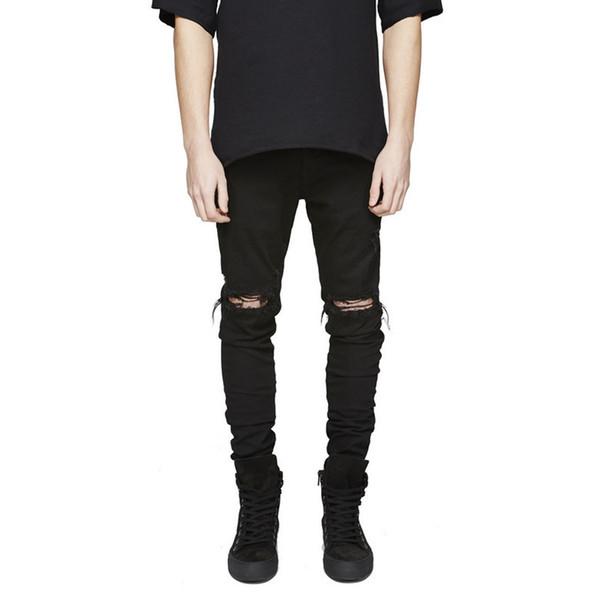 best selling GODLIKEU Men's Destroyed Distressed Tapered Leg Jeans Ripped Slim Fit Skinny Denim Pants