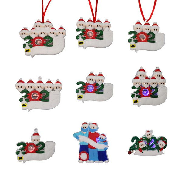 top popular LED Christmas Quarantine Ornaments 2021 Personalized Toys Survivor Family Christmas Tree Lighting Ornament Decorations Party Favor Gifts 2020