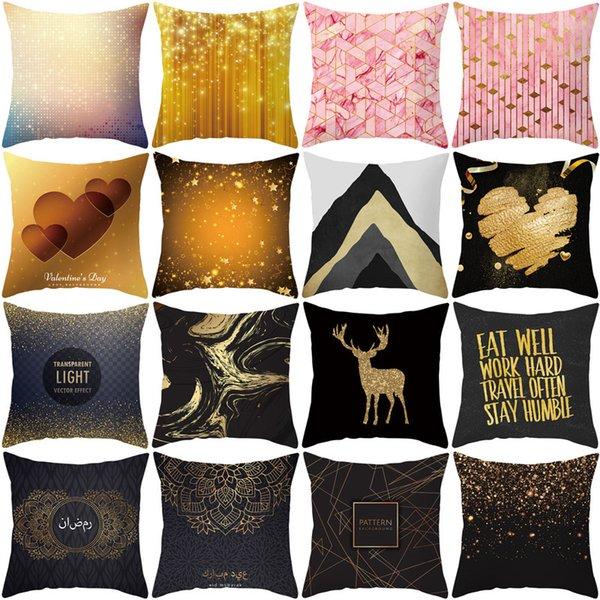 top popular 2020 new black geometric printing pillow cover sofa car cushion cover household goods 2021
