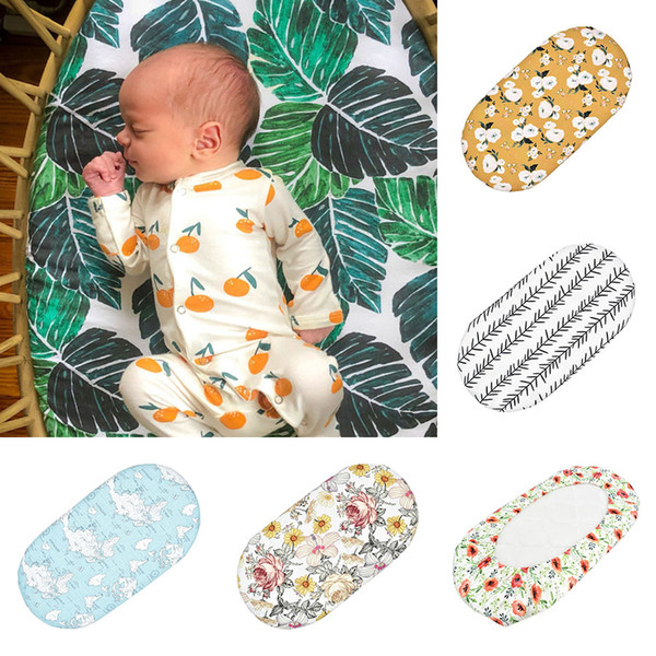 best selling Baby Printing Cradle Bed Sheet Nursing Cover Changing Cover Suitable For Multi-Size Floral Printed Elastic Detachable Cover M3203