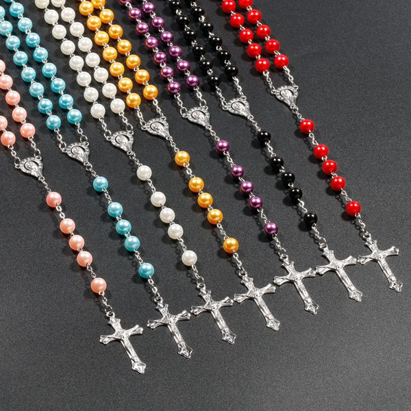 top popular Unique Design Accessories Catholic Christian Cross Rosary Long Imitation Pearl Necklace Mens and Womens Sweater Chain 50Pcs Lot 2021