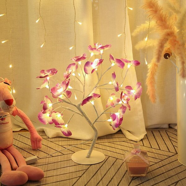 top popular 2021 New 60cm Led Simulation Orchid Branch Lights 24 Bulbs Tree Night Table Light for Home Christmas Party Wedding Outdoor indoor 6j42 2021