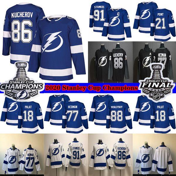 best selling Tampa Bay Lightning 2020 Stanley Cup Champions 91 Steven Stamkos 86 Nikita Kucherov 77 Victor Hedman 21 Brayden Point Hockey Jerseys