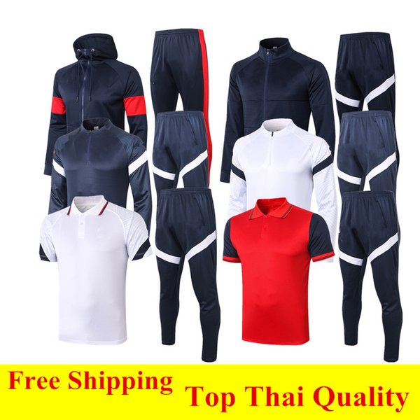best selling Thai quality 2020 MBAPPE Football Jacket Survetement 20 21 GRIEZMANN Hooded Down jacket KANTE soccer tracksuit GIROUD POGBA Jogging Sets XXL